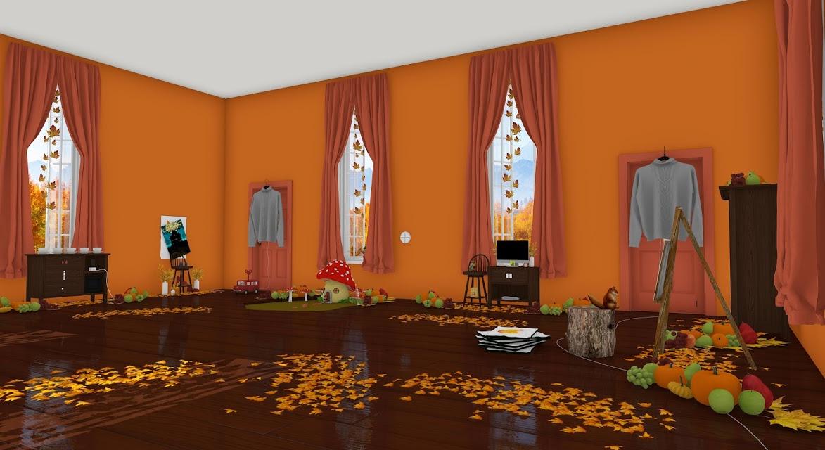 脱出ゲーム Autumn 紅葉とキノコとリスの家のスクリーンショット_1