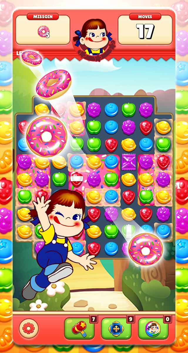 ミルキーマッチ:ペコちゃんパズルゲームのスクリーンショット_1