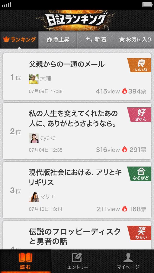 激闘!日記ランキングby mixi - 笑えるネタ日記や泣ける感動のストーリーに出会える!おもしろいテキストをまとめたランキングアプリの決定版!のスクリーンショット_1