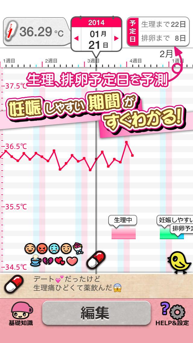 妊娠・生理・排卵日予測のグラフアプリ~基礎体温ツール~体温記録をグラフで管理して自分の体調リズムが一目でわかる!かわいいスタンプとメモ機能で女性に人気の無料手帳アプリのスクリーンショット_1