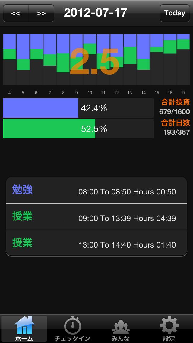 カンタン勉強時間管理 Simple Hoursのスクリーンショット_1