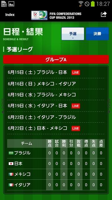 FIFAコンフェデレーションズカップ2013応援アプリのスクリーンショット_4
