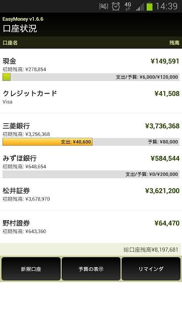 簡単な家計簿: 楽々マネー(EZ Money 日本語体験版)のスクリーンショット_1