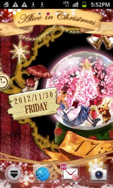 アリス in クリスマス 時計付きライブ壁紙のスクリーンショット_1