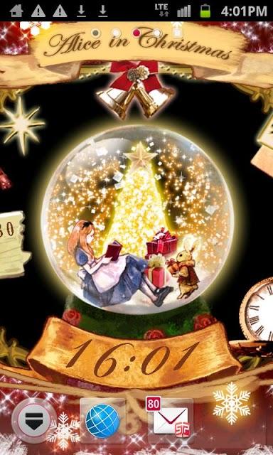 アリス in クリスマス 時計付きライブ壁紙のスクリーンショット_2
