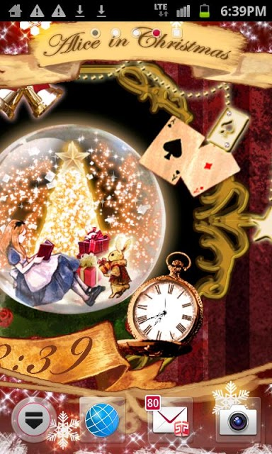 アリス in クリスマス 時計付きライブ壁紙のスクリーンショット_3