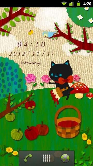 赤いりんごが実るまで 時計付きライブ壁紙のスクリーンショット_1