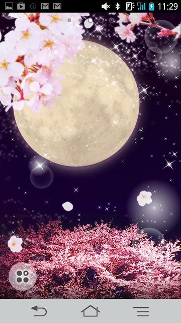 夜桜と満月 ライブ壁紙のスクリーンショット_1