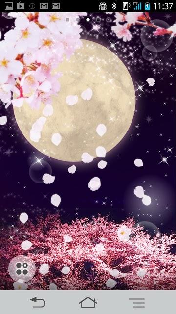 夜桜と満月 ライブ壁紙のスクリーンショット_3