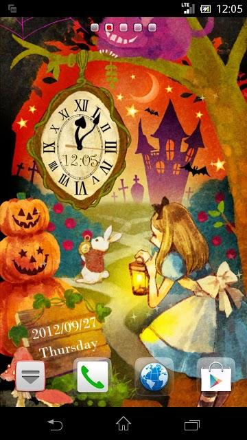 アリス in Halloween 時計付きライブ壁紙のスクリーンショット_1
