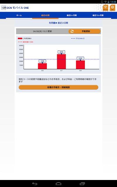 OCN モバイル ONE アプリのスクリーンショット_2