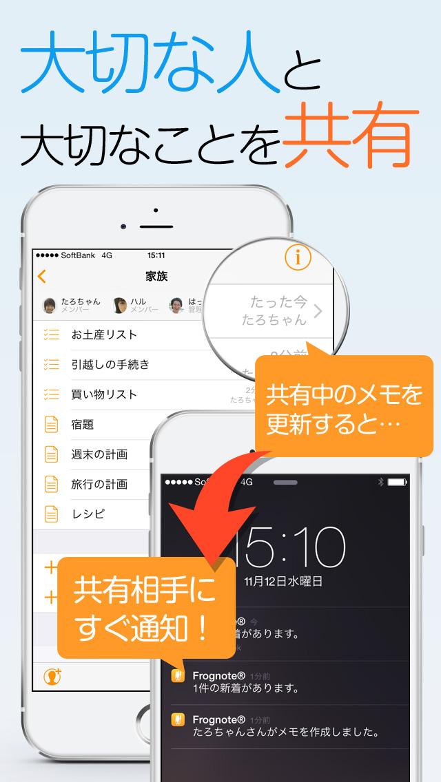 Frognote グループ共有できるメモ&ToDoアプリのスクリーンショット_1