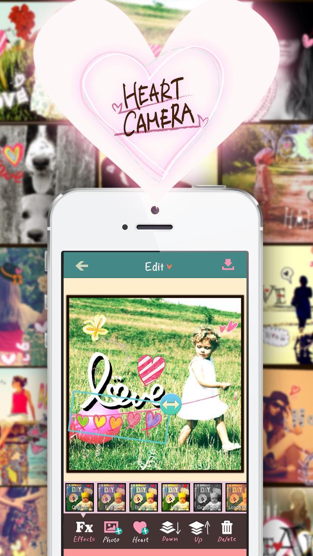 My Heart Camera 〜 ハートカメラの大人かわいいハートの無料スタンプでもっとオシャレにデコ&写真加工&コラージュ 〜のスクリーンショット_1