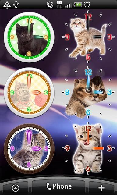 猫アナログ時計ウィジェット・目覚まし時計アラームのスクリーンショット_3