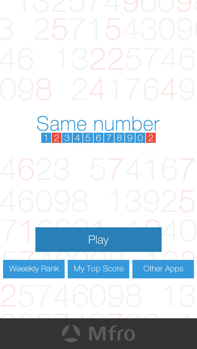 Same number - 9つの数字から同じ数字を選ぶだけのシンプル脳トレパズルゲーム 集中力を高めて脳を活性化のスクリーンショット_1