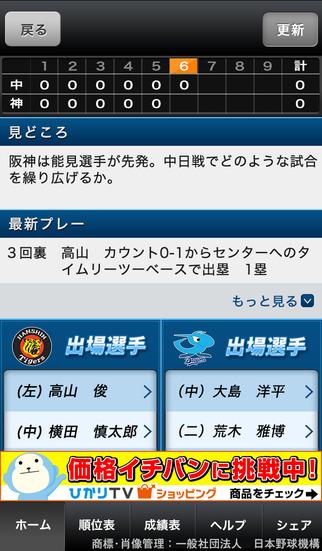 プロ野球Live! for iPhoneのスクリーンショット_1