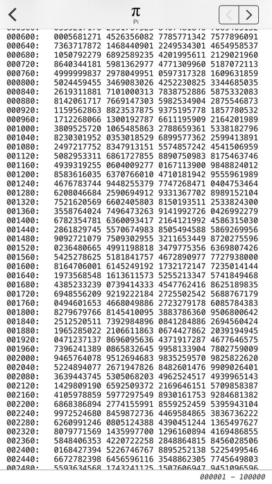 Pi : π 円周率100万桁のスクリーンショット_2