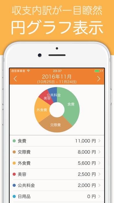 家計簿 簡単お小遣い帳 - 人気の無料家計簿アプリのスクリーンショット_1