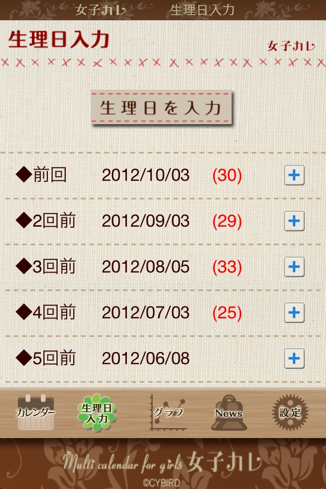 女子カレ for iPhone~生理・排卵・妊娠・避妊・ダイエット管理に便利なカレンダーのスクリーンショット_3